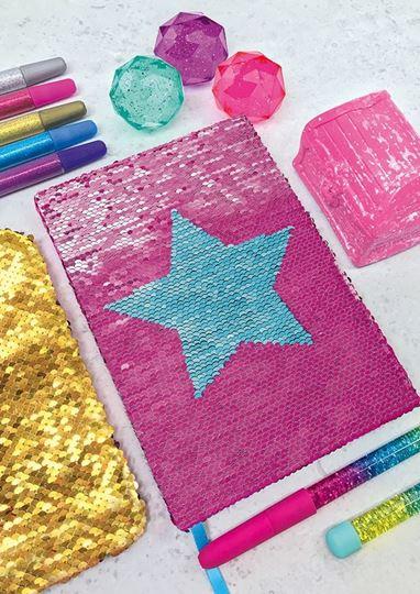 Bild von Notizbuch mit glitzernden Wendepailletten, VE-4
