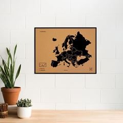 Picture of Woody Map - Europe - XL - Black - Frame Black