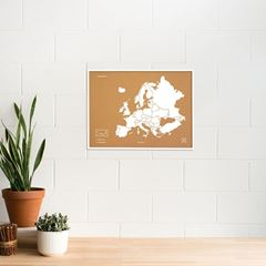 Picture of Woody Map - Europe - L - White - Frame White