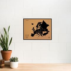 Picture of Woody Map - Europe - L - Black - Frame Black